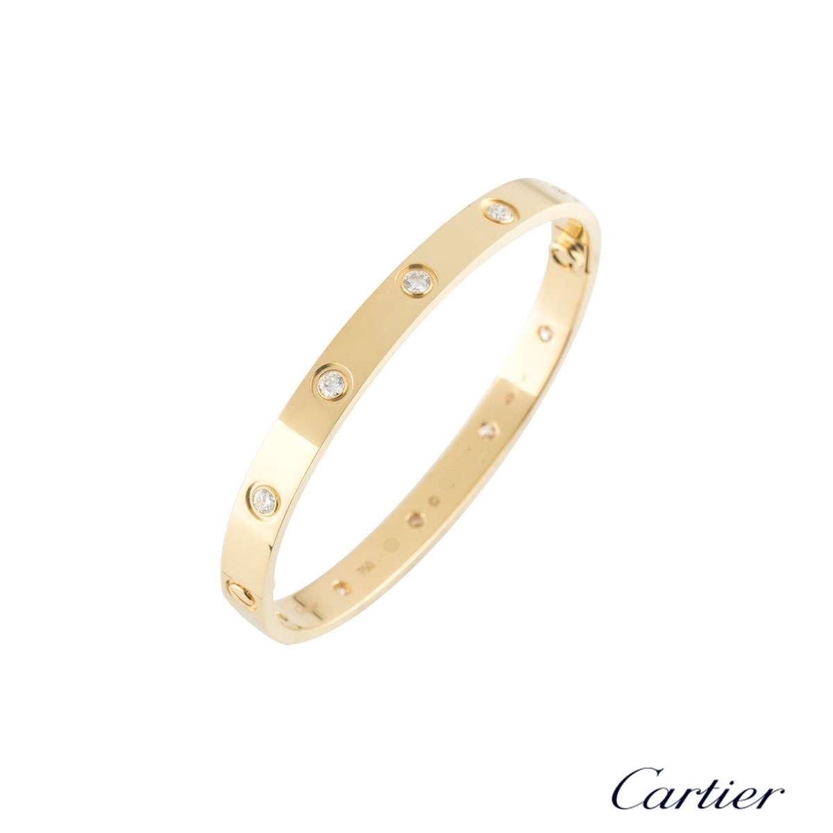 CartierYellow Gold Full Diamond Love Bracelet Size 19 B6040519